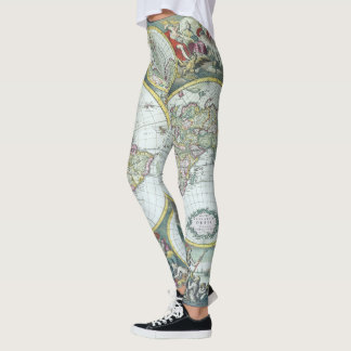 17th Century Antique World Map, Frederick De Wit Leggings