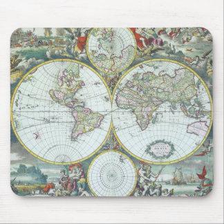 17th Century Antique World Map, Frederick De Wit Mouse Pad