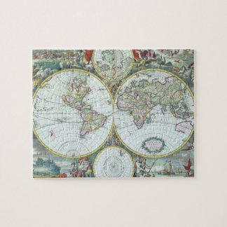 17th Century Antique World Map, Frederick De Wit Puzzles