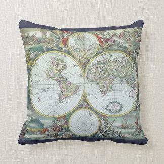 17th Century Antique World Map, Frederick De Wit Throw Pillow
