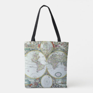 17th Century Antique World Map, Frederick De Wit Tote Bag
