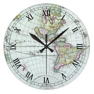 17th Century Antique World Map, Frederick De Wit Wall Clock