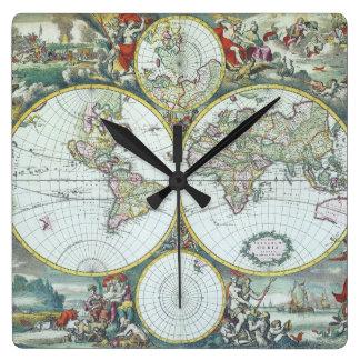17th Century Antique World Map, Frederick De Wit Wall Clocks