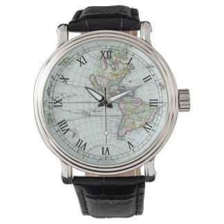 17th Century Antique World Map, Frederick De Wit Wrist Watches