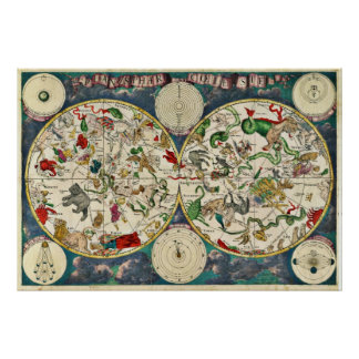 17th Century Celestial Map Poster