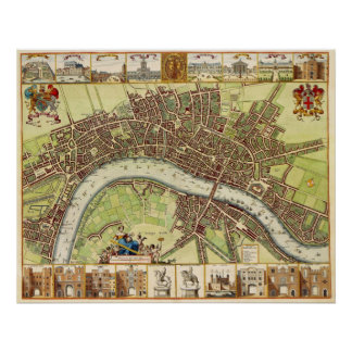 17th Century Map of London England by W. Hollar Poster