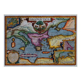 17th Century Mediterranean Map Poster