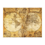 17th century old World Continent Map canvas print