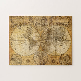 17th century old World Continent Map puzzle