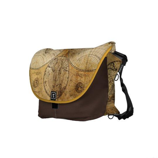 17th century Old World Map messenger bag