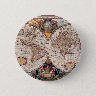 17th Century original World Map1600s 2 Inch Round Button