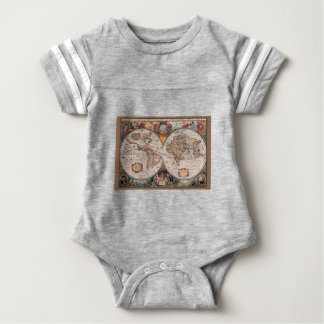 17th Century original World Map1600s Baby Bodysuit