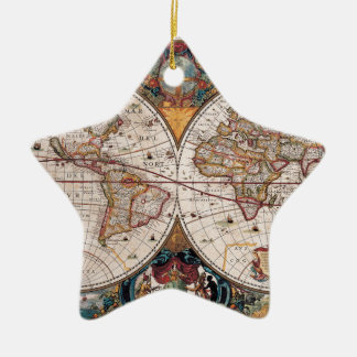17th Century original World Map1600s Ceramic Ornament
