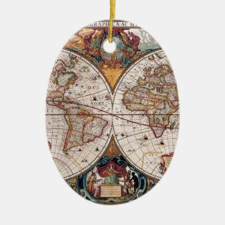17th Century original World Map1600s Ceramic Ornament