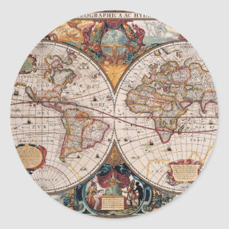 17th Century original World Map1600s Classic Round Sticker