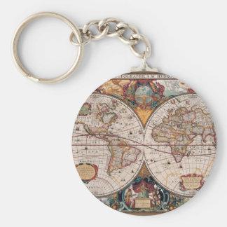 17th Century original World Map1600s Keychain