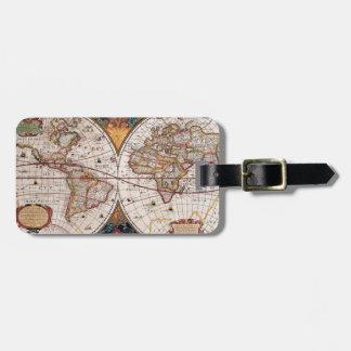 17th Century original World Map1600s Luggage Tag