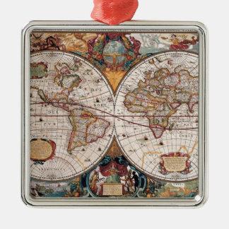 17th Century original World Map1600s Metal Ornament
