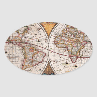 17th Century original World Map1600s Oval Sticker