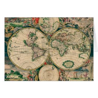 17th Century World Map Greeting Card