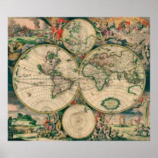 17th Century World Map - Poster