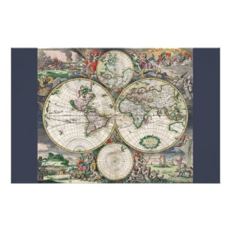 17th Century World Map Stationery Paper