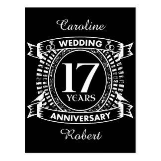 17TH wedding anniversary black and white Postcard
