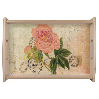1800s French Handwriting Pink Peony Vintage Art Food Trays