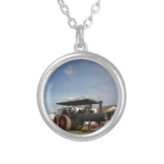 1800's Steam Tractor Silver Plated Necklace