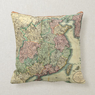 1801 John Cary Map of China and Korea Throw Pillow