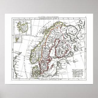 1806 Map - La Suede at le Danemarck Poster