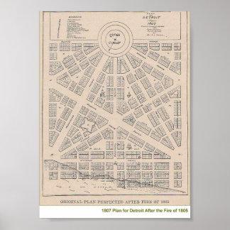 1807 Plan for Detroit Poster
