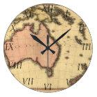 1818 Australasia Map - Australia, New Zealand Large Clock