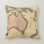 1818 Australasia Map - Australia, New Zealand Throw Pillows