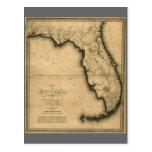 1823 Map of Florida Post Card