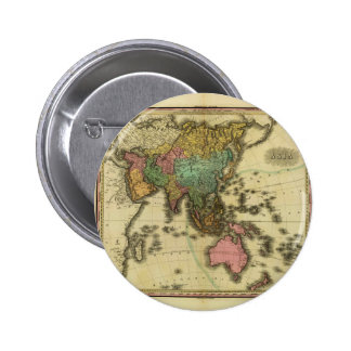 1825 Map of Asia by Henry Tanner Pinback Button