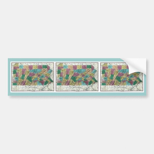 1829 Pennsylvania Map Bumper Stickers