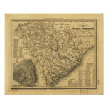 1833 Rail & Ship Routes Map of South Carolina Poster