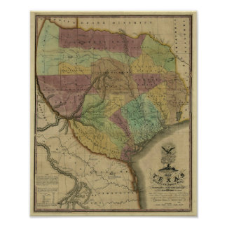1837 Texas Map with Parts of the Adjoining States Poster