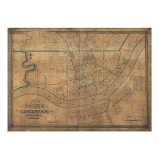 1838 Map of Cincinnati, Ohio Poster