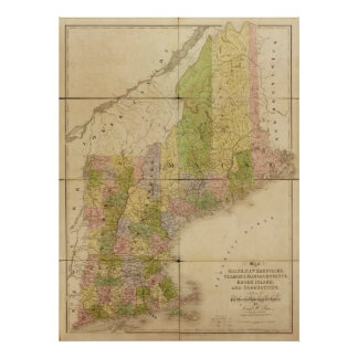 1839 Map of Maine & New England States Poster