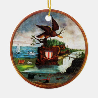 1840 America Folk Art Round Ceramic Ornament