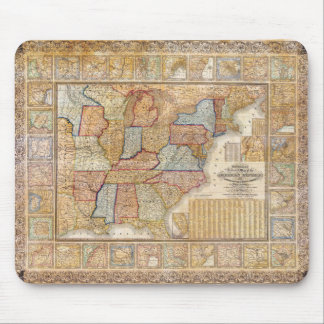 1845 Samuel Mitchell Wall Map of the United States Mouse Pad