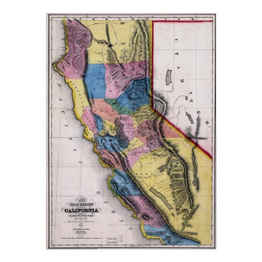 1851 California Gold  Map Poster