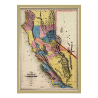 1851 California Gold Map Very Colorful! Poster