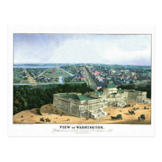 1852 Color Lithograph - View of Washington Postcard