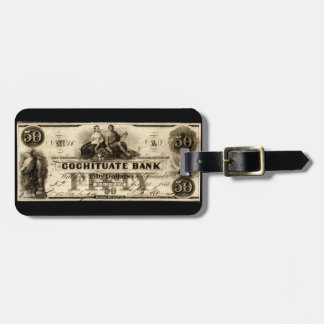 1853 Cochituate Fifty Dollar Note Luggage Tag