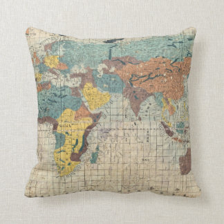 1853 Japanese world map by Suido Nakajima Throw Pillow