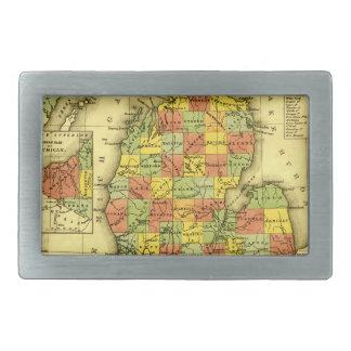 1853 Vivid Map of Michigan Show true allegiance MI Belt Buckles