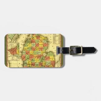 1853 Vivid Map of Michigan Show true allegiance MI Luggage Tag